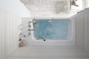 A Kohler walk in bath provides therapeutic jets, safety features and luxurious bathing.