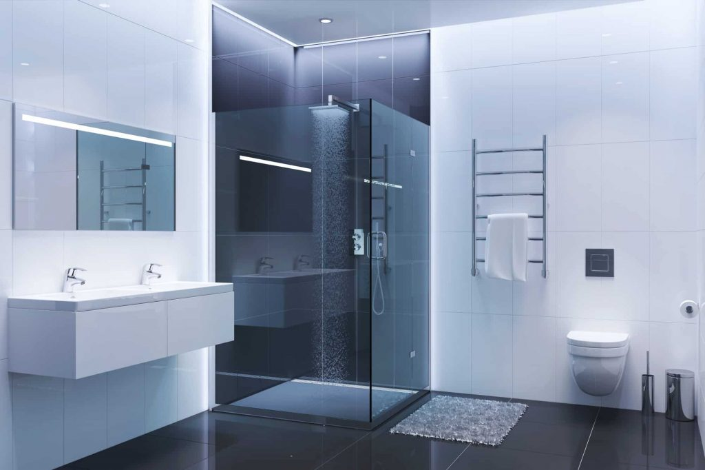 Black and white modern shower room in the evening. Tub to shower conversions are a great option for many homes.